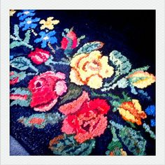 a rosy outlook...   pdxhomelife #FlowerShop hooked rug made by my great great grandmother