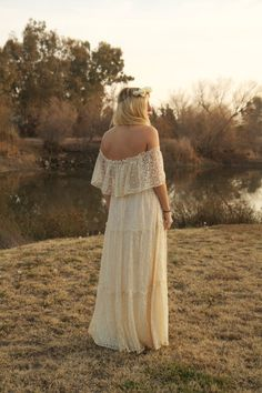 Off the shoulder lace vintage wedding dress - my cousin makes the most beautiful dresses