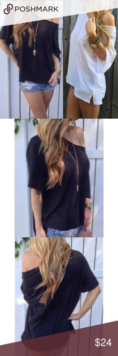 ‼️Restocked‼️ Black Loose-Fit Off-Shoulder Tee  Super cute loose-fit tee.  Can be worn on or off shoulder.  ♦️Runs small, so if you want the baggy look as shown in photos, order a size or two up.♦️ Fabric is a lightweight cotton blend. Available in Black or White. (White is listed in my closet, also)    **NEW in package**   #5B990. ❗️Price is firm unless bundled❗️ Tops
