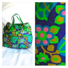 1a7db2594 Groovy Flower Power Handbag Overnight Bag Purse Bowling Bag Diaper Cotton  Vinyl Psychedelic Purple Green 1960s 60s Travel Carrying Case