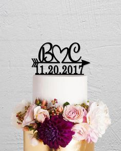 Wedding Cake Topper,Initials Cake Topper,Arrow Cake Topper,Date Cake Topper,Personalized Cake Topper,Rustic Cake Topper,Name Cake Topper