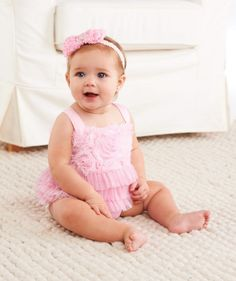 Chiffon Rosette Bubble Romper from The Couture Baby