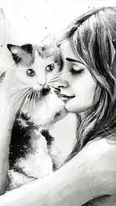 Girl With Cat Black And White Painting