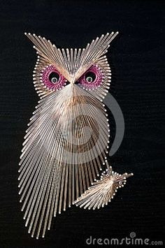 map pins string | Owl String Art Royalty Free Stock Image - Image: 29276716