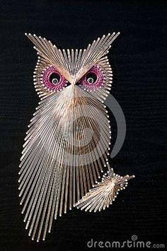 map pins string   Owl String Art Royalty Free Stock Image - Image: 29276716