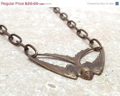 Mothers Day Sale Bird Chain Necklace Brass by GirlBurkeStudios, $18.00