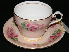 Aynsley cup and Saucer pink with floral pattern circa by RCSales, $25.00