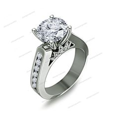 RD Cut Sim. Diamond 14k White Gold Fn Women's Solitaire W/Accent Engagement Ring #silvergemsjewelry #SolitairewithAccents
