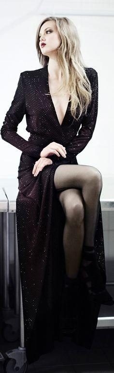 Alexandre Vauthier ~ Fall Long Sleeve Low V Gown w front split, Black, 2015