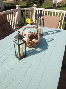 Painting an outdoor table with Annie Sloan's Duck Egg Blue