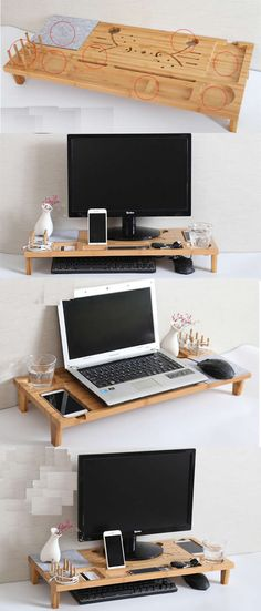 Wood Monitor IMac Stand Stationery Office Desk Organizer Pen Pencil Holder  IPad Cell Phone Charging Station