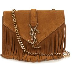Saint Laurent Monogram small fringed suede cross-body bag (77,050 DOP) ❤ liked on Polyvore featuring bags, handbags, shoulder bags, tan, crossbody purse, brown fringe purse, western purses, suede fringe handbag and brown crossbody purse