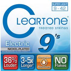 Cleartone Nickel-Plated Super Light Electric Guitar Strings 9-42