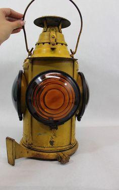 Antique Dressel, Railroad Kerosene Marker Lamp Lantern Original Yellow Paint