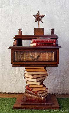 A Broken Something Becomes a Bookish Side Table