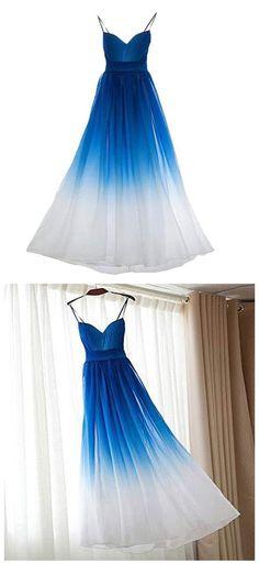 A-Line Spaghetti Straps Blue Chiffon Long Prom Grad Dresses, Trendy Dresses, Club Dresses, Homecoming Dresses, Sexy Dresses, Beautiful Dresses, Dress Outfits, Nice Dresses, Formal Dresses