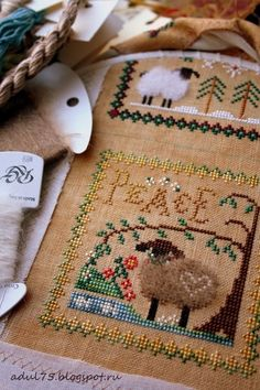 Little House Needlework: Little Sheep Virtues; I like the way they fluffed the sheep's fur