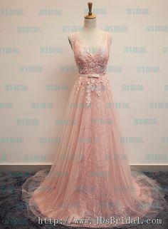 PD16016 Sparkles Pink blush v neckline tulle long prom evening dress