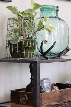 A vintage wire basket planter by Finding Home