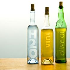 "DIY: Instead of tossing colorful bottles into the recycling bin, ""etch"" them for gifting or your own use."