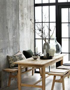 Eethoek met houten banken - bekijk en koop de producten van dit beeld op shopinstijl.nl