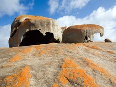 Remarkable Rocks are naturally sculptured formations precariously balanced atop a granite outcrop. They remind visitors of the sculptures of Henry Moore. Flinders Chase National Park, Kangaroo Island, (Australia's third-largest island, after Tasmania and Melville Island).