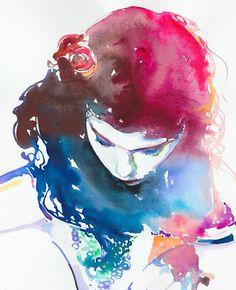 Watercolour Fashion watercolour painting by silverridgestudio. Original painting sold ~ prints available