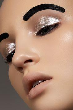 Photographer — Marina & Artem (www.photoma.ru),  make-up artist — Vera Shevi,  model — Svetlana Egorova at Chkalova Evgenia Model Agency  #fashion #beauty #makeup #black #silver