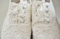 Lace Keds! Cute!! Cropped jeans, a white tee and these...or even white cropped jeans, a checked shirt and a floral infinity scarf...armful of bangles and big hoops. Yes!!