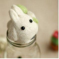 White Mini Totoro with Green Leaf Wool Felt Kit by AnnetteLounge