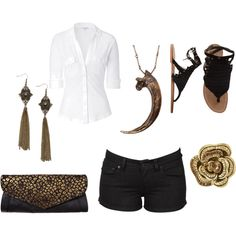 Love the white shirt with the black shorts or even skirt.. Summer Outfit