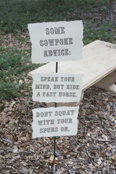 Love these signs for our Wild West theme... could post around our tent site