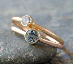 Aquamarine Engagement Ring in 14k Rose Gold by DalkullanJewelry, $215.00