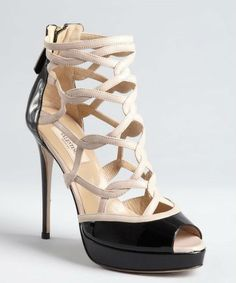 e59676b49b4b Valentino   black and nude patent leather cage platform sandals