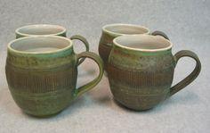 Set Of 4 Stoneware Mugs, via Etsy.