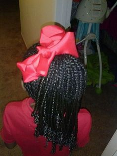 Back of braids into ponytail