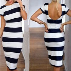 Striped Backless Pencil Dress 2015 Fashion Striped Backless Pencil Dress (Sizes: S M L Delivery 15-28 workdays shipped directly from overseas manufacture warehouse) Dresses