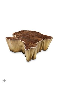 SEQUOIA | Contemporary Center Table by BRABBU  Table top in walnut root veneer and elm root veneer with matte finish, brushed brass http://brabbu.com/casegoods/sequoia-center-table.php