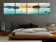 Love the idea of making a panoramic photo into four separate framed images.With the minimalist set up, it looks fantastic.