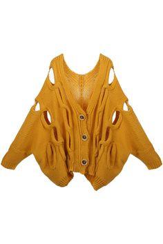 Chunky Knit Cut-out Beige Cardigan #romwe