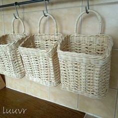 Variety of woven baskets on a wall rack is a great idea for my office Baskets On Wall, Hanging Baskets, Wicker Baskets, Woven Baskets, Newspaper Basket, Newspaper Crafts, Willow Weaving, Basket Weaving, Diy Paper