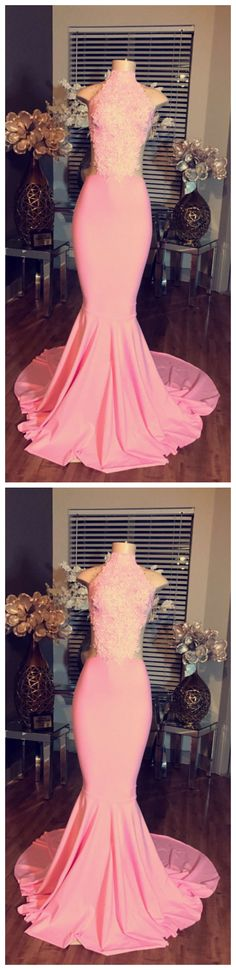 Beautiful Prom Dress, High Neck Long Evening Dress Cheap Lace Sleeveless Pink Mermaid Prom Dresses offers prom dresses in every variety, style, and size you could possibly imagine, which makes picking out the perfect prom dress easy! Modest Prom Gowns, Pageant Dresses For Teens, Pink Formal Dresses, Prom Dresses Under 100, Elegant Bridesmaid Dresses, Prom Dresses With Sleeves, Cheap Evening Dresses, Tulle Prom Dress, Beautiful Prom Dresses