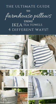DIY Ikea Tea Towel Farmhouse Pillows 4 Ways! : The ultimate guide to farmhouse pillows. Make these IKEA tea towel farmhouse pillows 4 different ways! The best collection I have seen! Burlap Pillows, Sewing Pillows, Custom Pillows, Wash Pillows, Throw Pillows, Ikea Towels, Diy Pillow Covers, Pillow Cases, Vintage Pillows