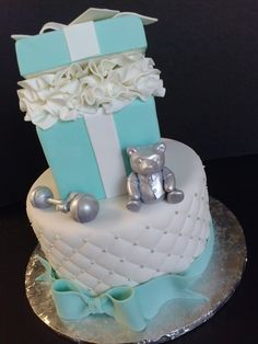 Tiffany blue and silver baby shower cake Pearland, Houston Cakes