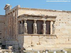 Cariátides - São essas colunas esculpidas como estátuas femininas que suportam na cabeça todo o peso do templo. Algumas vezes os gregos utilizavam esse recurso estético para substituir as colunas de sustentação tradicionais.