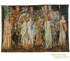 Tapestry - The Holy Grail (The Arming and Departure of the Knights) by William Morris, based on Le Morte d'Arthur:  Worldwide Tapestries