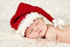 Newborn Christmas Photo Prop ... Girl Santa Hat ... Baby Girl Christmas Hat ... Santa Claus Hat ... Miss Claus. $40.00, via Etsy.