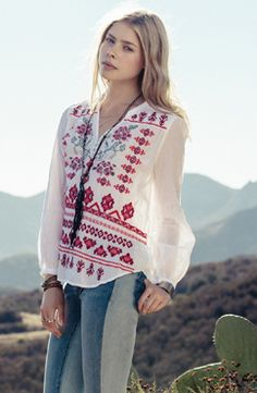 Embroidered peasant top - JWLA / 3J Workshop Lookbook | View New Styles at Johnny Was - #CowgirlChic