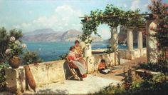Artist:Robert Alott (1850 - 1910) Art style: Victorian Art Title: Figures on a Terrace in Capri Size: 104 x 60 cm Techniqueoil on canvas