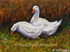 """Duck and Drake About to Mate"" by Nuala Holloway - Oil on Canvas #Ducks #OilPainting #IrishArt"